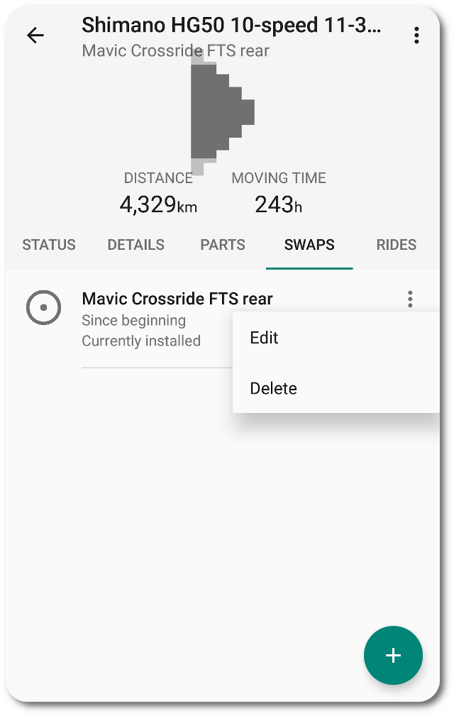 Component swaps list (installation details) in ProBikeGarage Android app