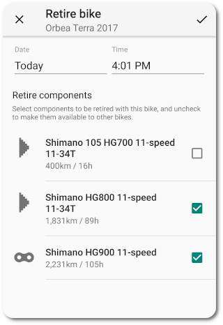 Retire bike and components form in ProBikeGarage Android app