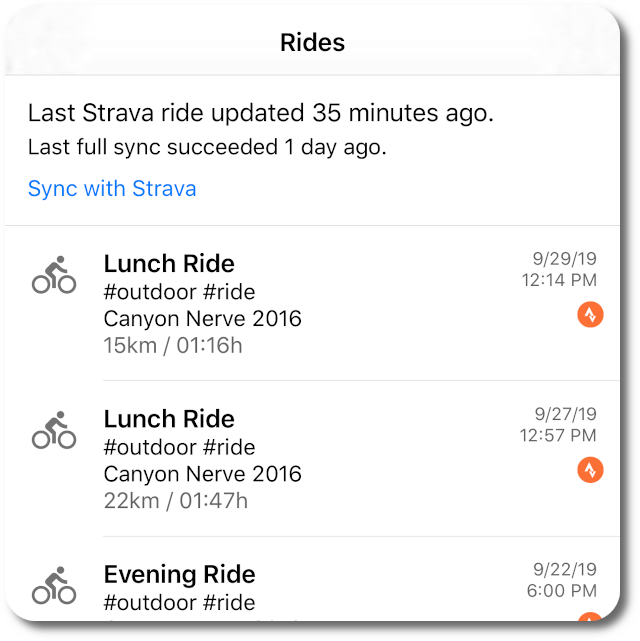 Strava sync status in ProBikeGarage iOS app